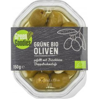 Grüne Oliven gefüllt mit Frischkäse