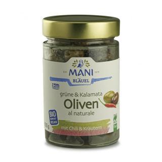 Grüne & Kalamata Oliven mit Chili & Kräutern