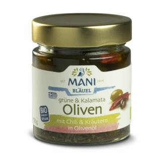 Grüne und Kalamata Oliven mit Chili und Kräuter