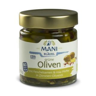 Grüne Oliven mit Fenchelsamen, rosa Pfeffer und Zitronenöl